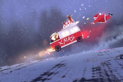 Funny Scene of Santa Claus and the Van with Christmas Gift Bags Jumping on Winter Road,Illustration-Tithi Luadthong-Art Print