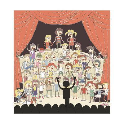 Funny School Choir Singing-vook-Art Print
