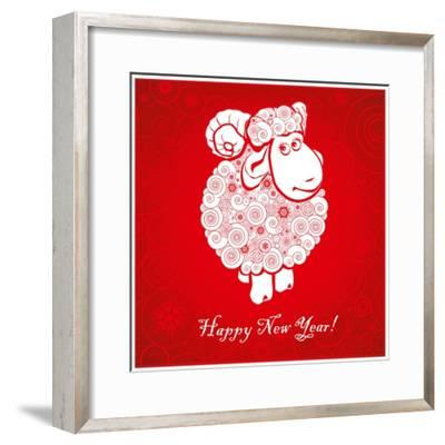 Funny Sheep on Bright Red Background 1-mamaluk-Framed Premium Giclee Print