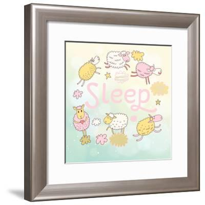 Funny Sheep on Clouds in Vector Card. Cartoon Childish Background. Sleeping Concept Illustration-smilewithjul-Framed Art Print