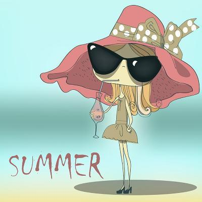 Funny Summer Girl Drinking the Cocktail.-Elena Barenbaum-Art Print