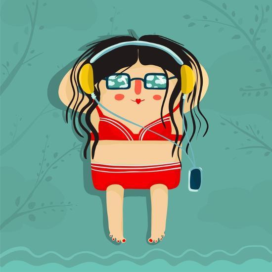 Funny Sunburning Girl Listening to Music. Summer Sea Recreation Illustration. Vector Eps8.-Popmarleo-Art Print
