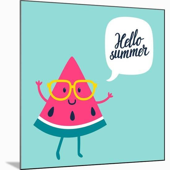 Funny Vector Background with Watermelon Slice in Glasses, Speech Bubble and Hand Written Text Hello-Beskova Ekaterina-Mounted Premium Giclee Print