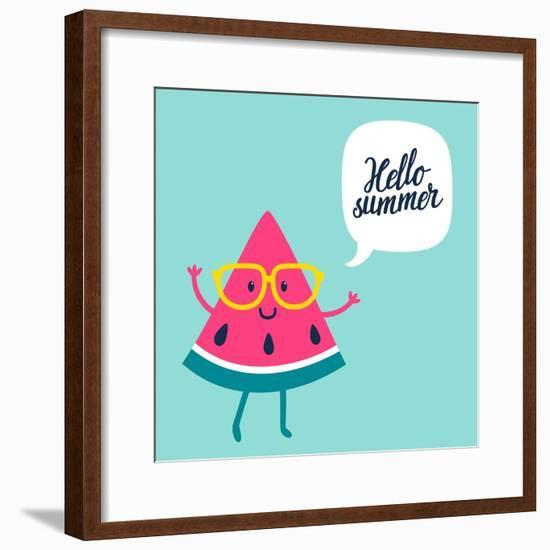 Funny Vector Background with Watermelon Slice in Glasses, Speech Bubble and Hand Written Text Hello-Beskova Ekaterina-Framed Premium Giclee Print