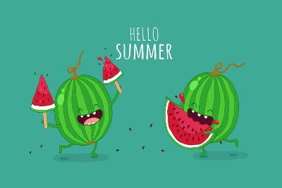 Funny Watermelon Eating a Piece of Watermelon. Hello Summer. Use for Card, Poster, Banner, Web Desi- Serbinka-Art Print