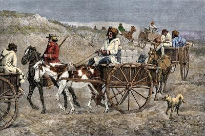 Fur Train from the North Arriving at a Canadian Trading Post, 1800s--Giclee Print