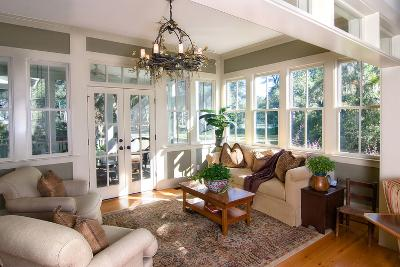 Furnished Sunroom with Large Windows and Glass Doors-Wollwerth Imagery-Photographic Print