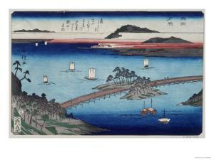 One of the Eight Views of Lake Biwa, Showing Boats Sailing and a Bridge by Fusatane