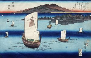 One of the Eight Views of Lake Biwa, Showing Boats Sailing by Fusatane