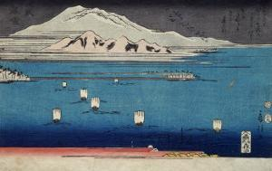 One of the Eight Views of Lake Biwa by Fusatane