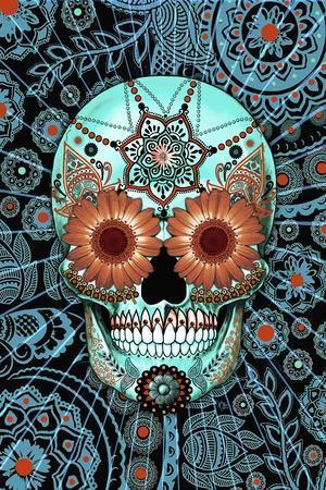 Sugar Skull Caribbean Blue