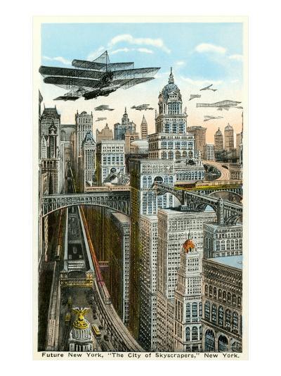 Future New York with Airships--Art Print