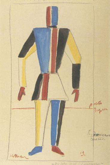 Futurist Strongman, Costume Design for the Opera Victory over the Sun after A. Kruchenykh-Kasimir Severinovich Malevich-Giclee Print
