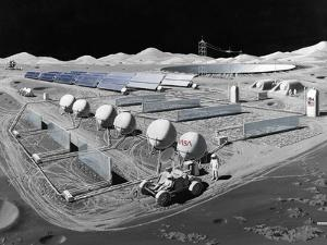 Futurist Vision of a Lunar Observatory with a Radio Telescope Built into the Lunar Surface, 1988