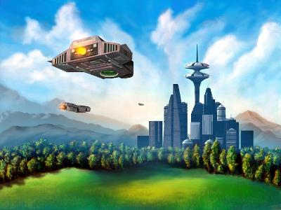 Futuristic City-Thufir-Art Print