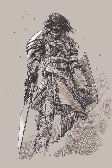 Futuristic Knight with Blade,Drawing,Sketch-Tithi Luadthong-Art Print