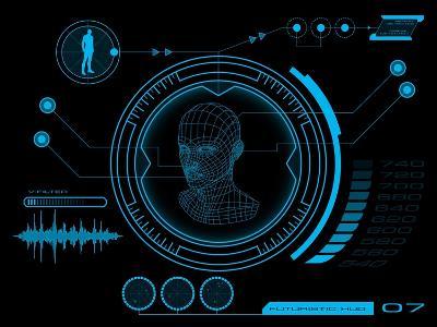 Futuristic User Interface HUD- clusterx-Art Print