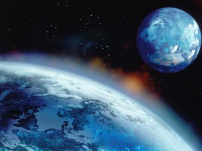 PLANET EARTH TWO WORLD COMPUTER GRAPHIC