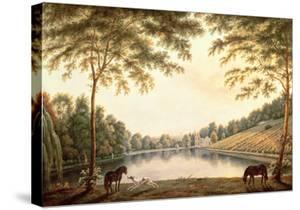 A View of the Lake and Ruins of the Abbey at Painshill, Surrey by G. Barrett