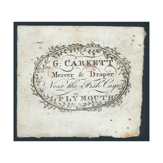 G Carkett, Mercer and Draper, Trade Card--Giclee Print