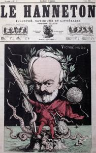 """Caricature of Victor Hugo as Zeus in Exile on Guernsey from the Front Cover Of""""Le Hanneton"""" by G^ Deloyoti"""