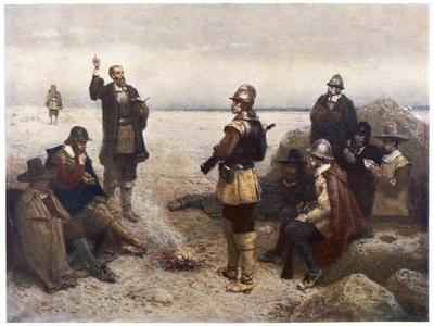 """The """"Pilgrims"""" Give Thanks to God for Their Safe Voyage after Landing in New England"""
