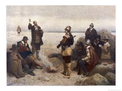 "The ""Pilgrims"" Give Thanks to God for Their Safe Voyage after Landing in New England"