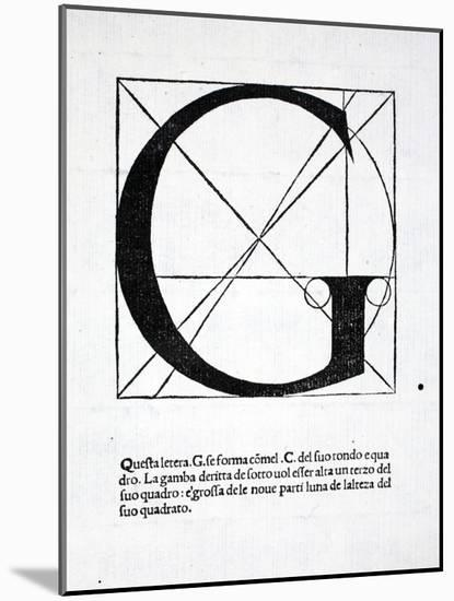 G, Illustration from 'Divina Proportione' by Luca Pacioli (C.1445-1517), Originally Pub. Venice,…-Leonardo da Vinci-Mounted Giclee Print
