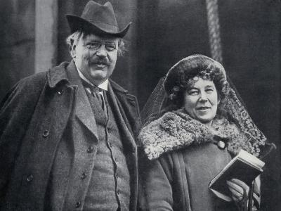 G. K. Chesterton with His Wife Frances Blogg--Giclee Print