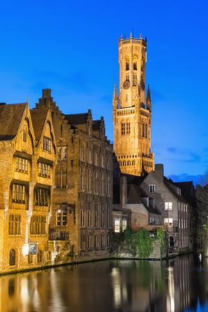 Belfry at Twilight, Historic Center of Bruges, UNESCO World Heritage Site, Belgium, Europe by G&M