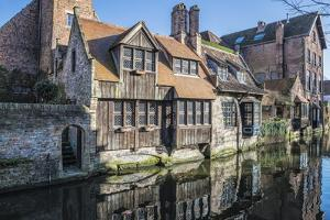 Houses Along a Channel, Historic Center of Bruges, UNESCO World Heritage Site, Belgium, Europe by G&M