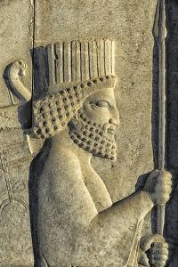 Apadana stairway facade detail, relief of the Achaemenids, Medes and Persians, Persepolis, Iran by G&M Therin-Weise