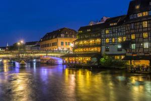 Ill canal at night, Strasbourg, Alsace, Bas-Rhin Department, France, Europe by G&M Therin-Weise