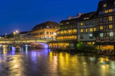 Ill canal at night, Strasbourg, Alsace, Bas-Rhin Department, France, Europe