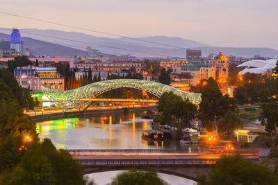 Tbilisi at dusk, Georgia, Caucasus, Asia