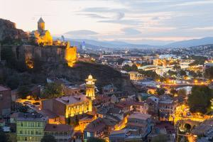 Tbilisi at night, Georgia, Caucasus, Asia by G&M Therin-Weise