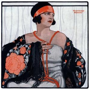 """Flapper in Shawl and Beads,""January 19, 1924 by G. Moore"