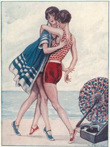 Two Midinettes Dance on the Sand to the Jazz-Music of Their Portable Gramophone by G. Pavis