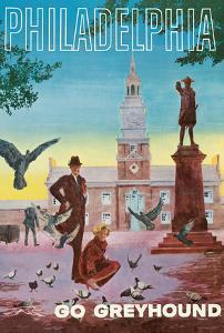 Philadelphia - Go Greyhound - Independence Hall by G. Roth