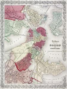 Map: Boston, 1865 by G. W. Colton