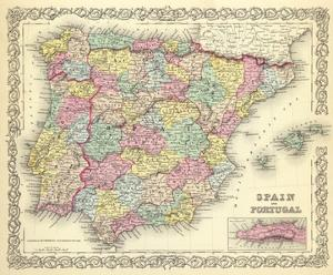 Spain and Portugal, c.1856 by G^ W^ Colton