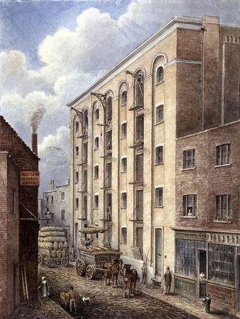 Hay's Wharf with Carts Being Loaded Up Outside, Bermondsey, London, 1834