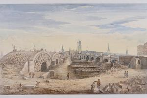 London Bridge (Old and New), London, 1828 by G Yates