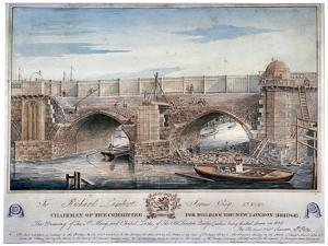 St Mary and Chapel Locks Being Pulled Down, London Bridge, 1829 by G Yates