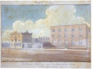 St Saviour's Workhouse and the Rockingham Arms Inn, New Kent Road, Southwark, London, 1825 by G Yates