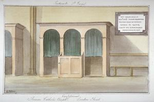 The Confessional in the Roman Catholic Chapel on London Road, Southwark, London, 1825 by G Yates