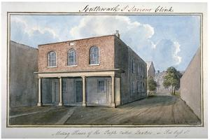 View of the Quaker's Meeting House on Redcross Street, Southwark, London, 1825 by G Yates