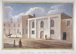 View of the Sion Chapel on John Street, Southwark, London, 1825 by G Yates