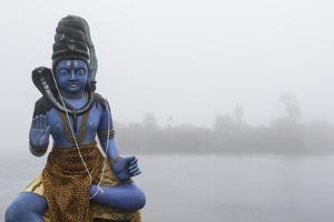 Lord Shiva Statue on the Ganga Talao Lake or Grand Bassin, a Sacred Hindu Site by Gabby Salazar