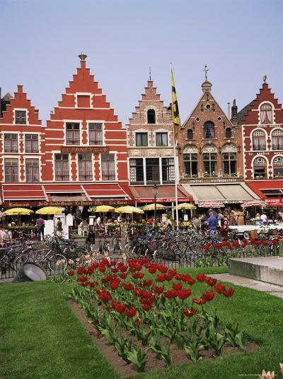 Gabled Buildings and Restaurants, Bruges, Belgium-Roy Rainford-Photographic Print